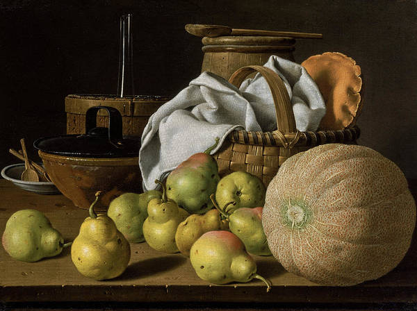 Painting - Still Life With Melon And Pears by Luis Melendez