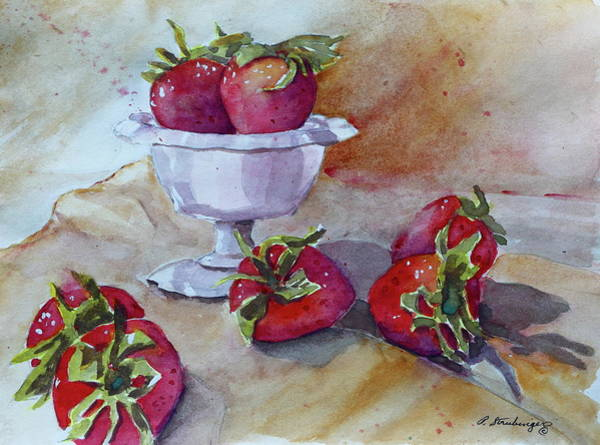 Wall Art - Painting - Still Life With Milk Glass And Strawberries by Patty Strubinger