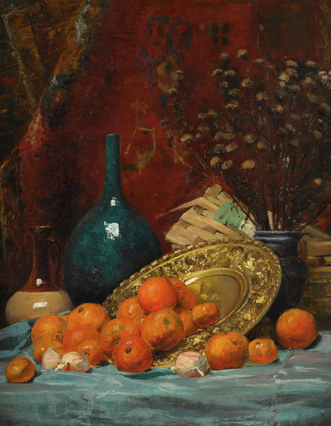 Wall Art - Painting - Still Life With Oranges by Elise Guillermin