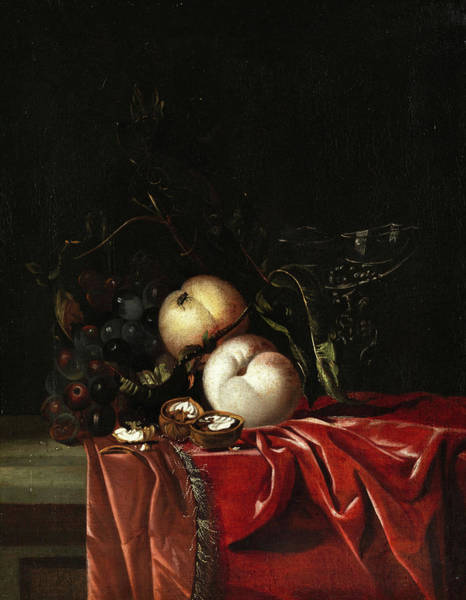 In Service Painting - Still Life With Peaches And Walnuts by Georg Hinz