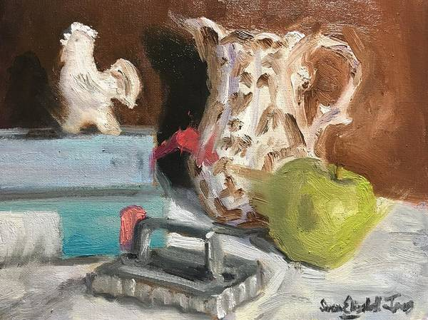Wall Art - Painting - Still Life With Pie Vent by Susan Elizabeth Jones