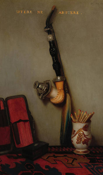 Wall Art - Painting - Still Life With Pipe And Matches, 1858 by Alexandre-Gabriel Decamps