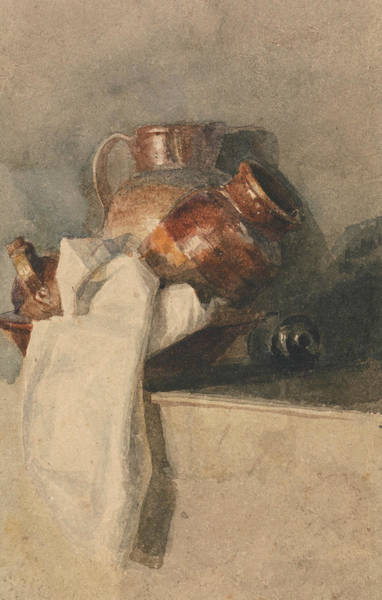 Pitchers Drawing - Still Life With Pitchers On A Shelf by Peter De Wint