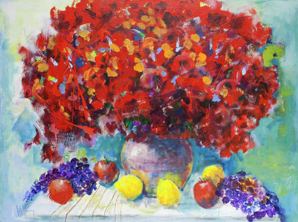 Painting - Still Life With Red Flowers by Maxim Komissarchik