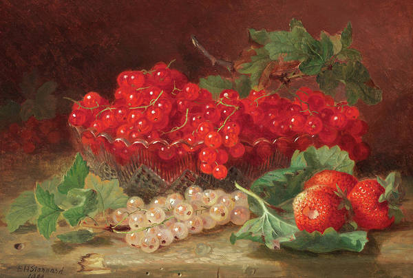 Wall Art - Painting - Still Life With Redcurrants by Eloise Harriet Stannard
