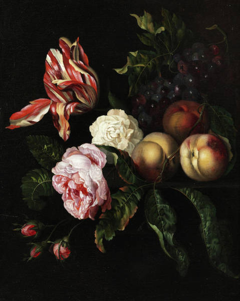 Tulip Bloom Painting - Still Life With Rose Blossoms, Grapes, Tulip, And Peaches by Ernst Stuven