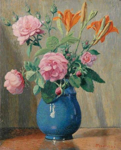 Wall Art - Painting - Still Life With Roses By Ernest Moulines 1870-1942 by Ernest Moulines
