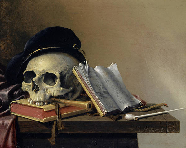 Wall Art - Painting - Still Life With Skull, Books, Flute And Pipe by Harmen Steenwyck