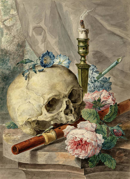 Wall Art - Painting - Still Life With Skull, Candlestick, Flute, Flowers by Abraham van Stry