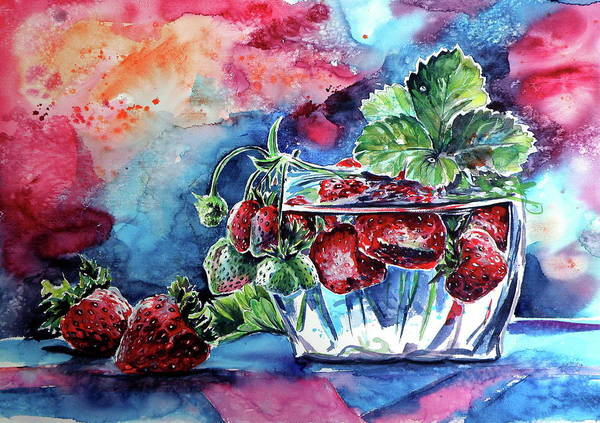 Wall Art - Painting - Still Life With Strawberry by Kovacs Anna Brigitta