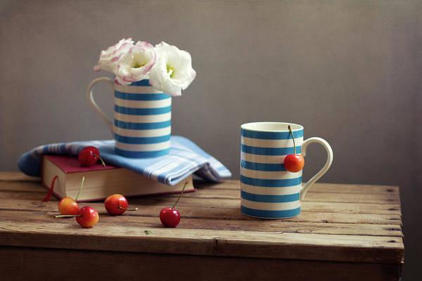 Horizontal Stripes Photograph - Still Life With Striped Cups by Copyright Anna Nemoy(xaomena)