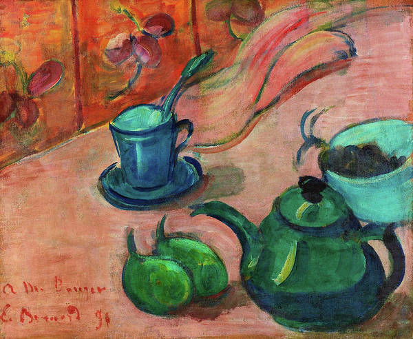 Wall Art - Painting - Still Life With Teapot, Cup And Fruit - Digital Remastered Edition by Emile Bernard