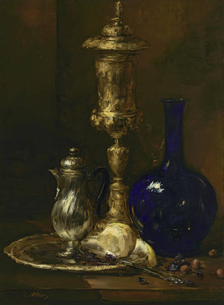 Wall Art - Painting - Still Life With Vase by Antoine Vollon
