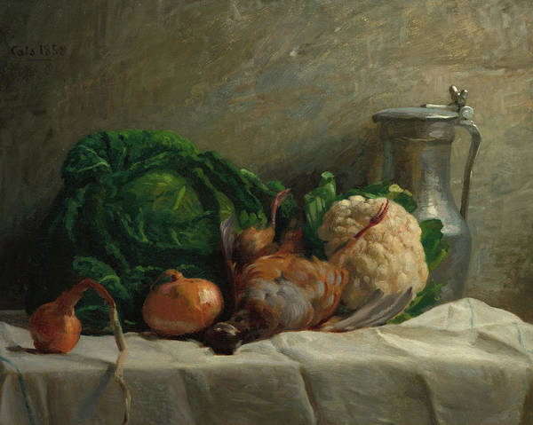 Wall Art - Painting - Still Life With Vegetables, Partridge, And A Jug, 1858  by Adolphe-Felix Cals