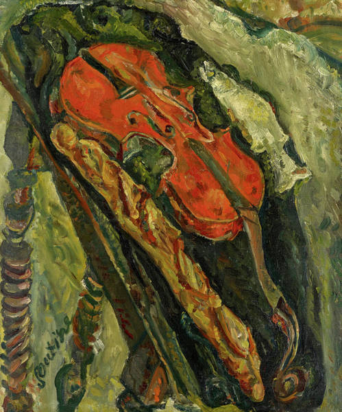 Wall Art - Painting - Still Life With Violin, Bread And Fish, 1922 by Chaim Soutine