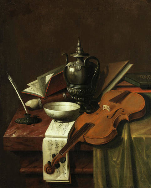Note Book Painting - Still Life With Violin by Dutch masters