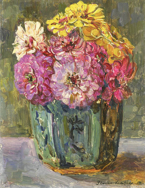Painting - Still Life With Zinnias In A Ginger Jar by Floris Verster