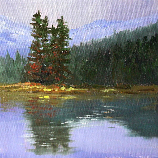 Wall Art - Painting - Still Waters Landscape by Nancy Merkle