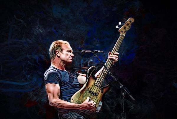 Wall Art - Digital Art - Sting Portrait  by Scott Wallace Digital Designs