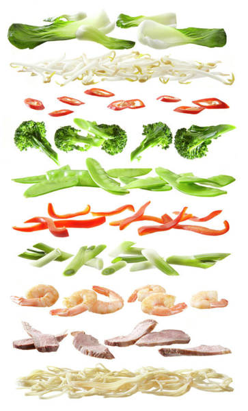 Stirfry Ingredients Separated Into Art Print by Johanna Parkin