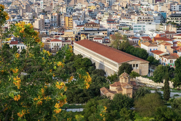 Photograph - Stoa Of Attalos Viewed From The Hill Of The Acropolis by Iordanis Pallikaras