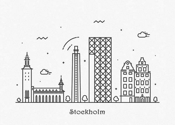 Drawing - Stockholm Cityscape Travel Poster by Inspirowl Design