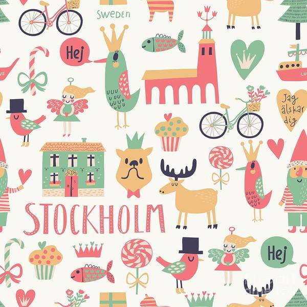 Wall Art - Digital Art - Stockholm Concept Seamless Pattern In by Smilewithjul