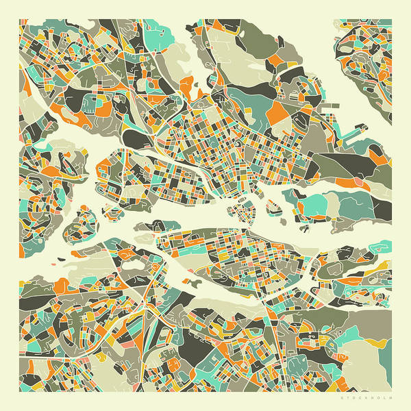 Fine Digital Art - Stockholm Map 1 by Jazzberry Blue