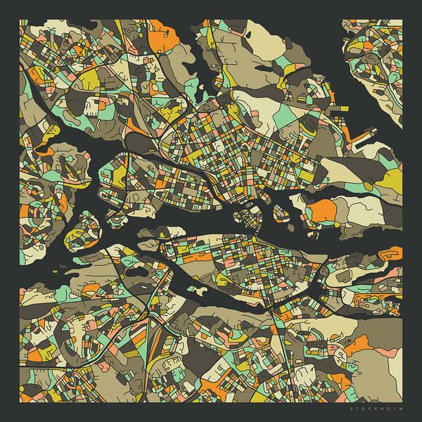 Fine Digital Art - Stockholm Map 2 by Jazzberry Blue