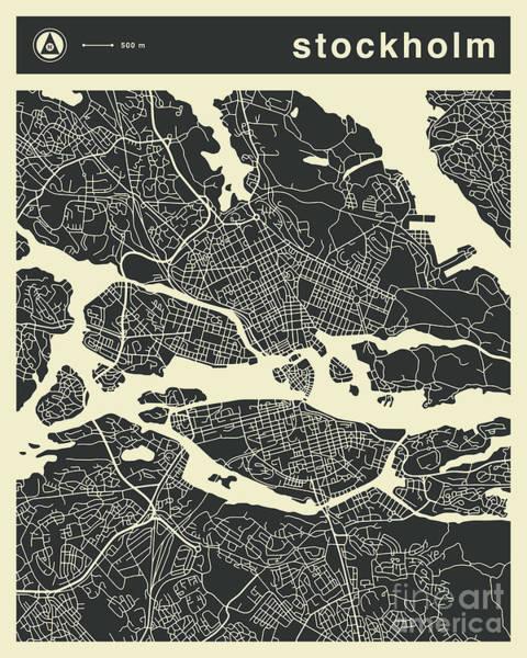 Fine Digital Art - Stockholm Map 3 by Jazzberry Blue