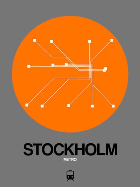 Wall Art - Digital Art - Stockholm Orange Subway Map by Naxart Studio