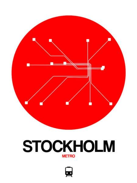 Wall Art - Digital Art - Stockholm Red Subway Map by Naxart Studio