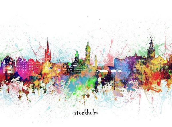 Wall Art - Digital Art - Stockholm Skyline Artistic by Bekim M