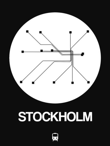 Wall Art - Digital Art - Stockholm White Subway Map by Naxart Studio