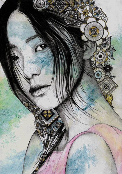 Wall Art - Drawing - Stoic - Asian Girl Street Art Portrait With Mandala Doodles by Marco Paludet