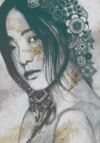 Wall Art - Drawing - Stoic - Autumn - Asian Woman Portrait With Mandalas by Marco Paludet