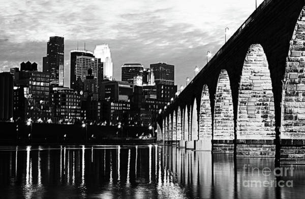 Wall Art - Photograph - Stone Arch Bridge Minneapolis Bw V2 by Wayne Moran