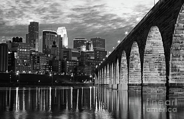 Wall Art - Photograph - Stone Arch Bridge Minneapolis Bw V3 by Wayne Moran