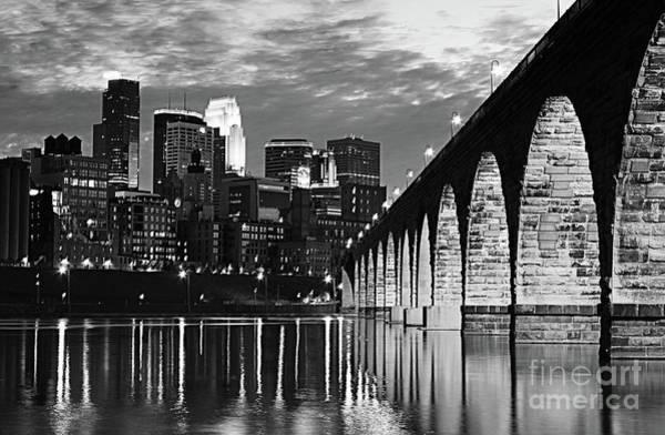 Wall Art - Photograph - Stone Arch Bridge Minneapolis Bw V4 by Wayne Moran