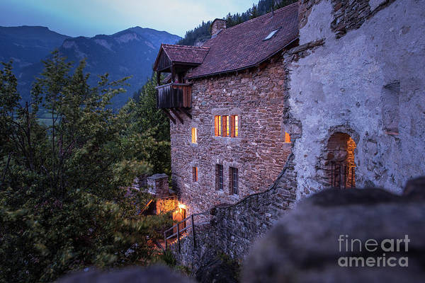 Wall Art - Photograph - Stone Castle, Mountain In Background by Boris Baldinger