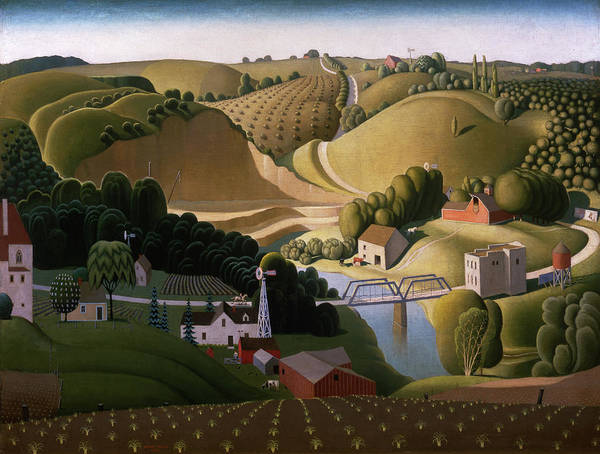 Rural Wall Art - Painting - Stone City, 1930 by Grant Wood