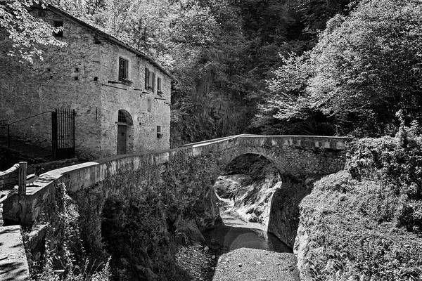 Photograph - Stone House And Bridge Lake Como Italy Bw by Joan Carroll