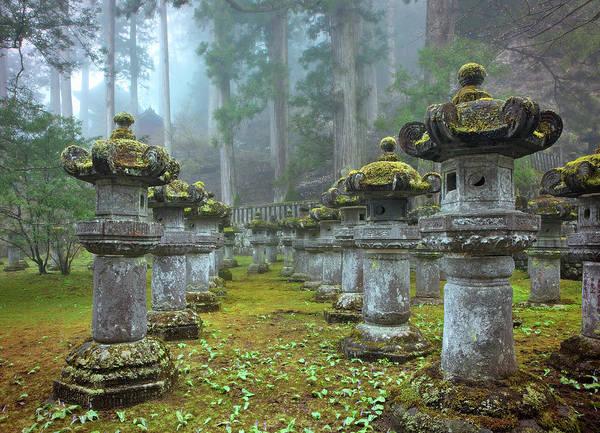 Nikko Photograph - Stone Lanterns, Nikko, Japan by Daryl Benson