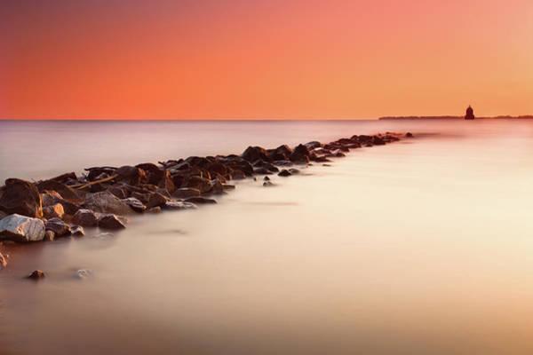 Chesapeake Bay Photograph - Stone Seawall Jetty At Sunrise by Jp Benante