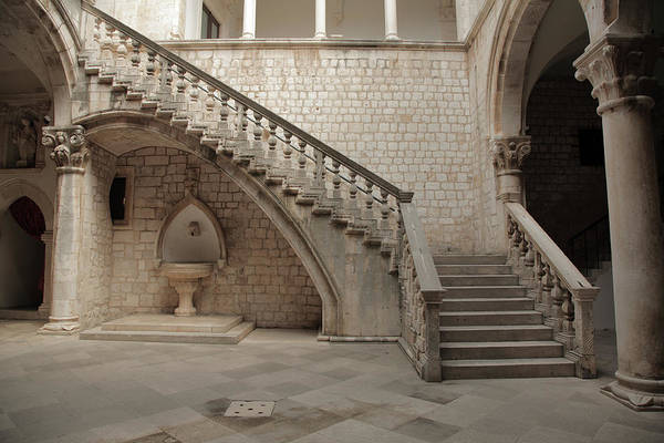 Baluster Wall Art - Photograph - Stone Staircase And Courtyard by Jvt