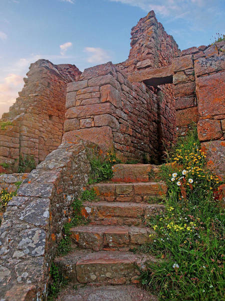 Wall Art - Photograph - Stone Steps To St Ouen Grosnez Castle Ruins by Gill Billington