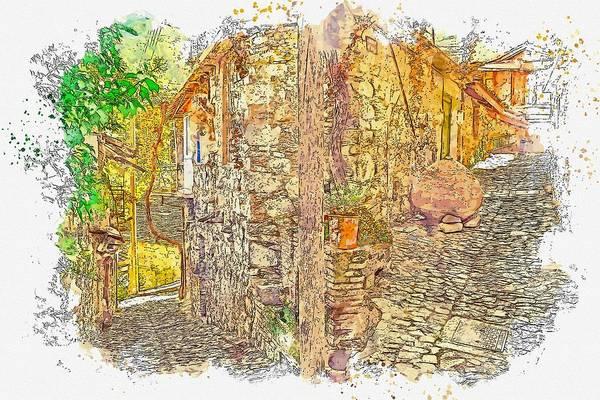 Wall Art - Painting - Stone Village Street Watercolor By Ahmet Asar by Ahmet Asar