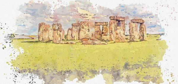 Wall Art - Painting - Stonehenge Watercolor By Ahmet Asar by Ahmet Asar