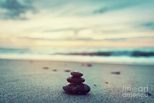 Wall Art - Photograph - Stones Pyramid On The Beach At Sunset. Zen by Michal Bednarek