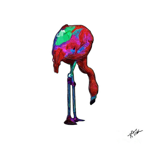 Digital Art - Stooped Over Abstract Flamingo by Kirt Tisdale